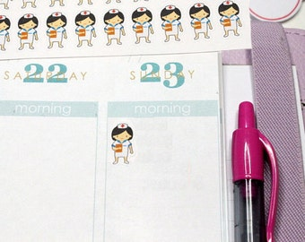30 Little Nurse Stickers! Perfect for your Erin Condren Life Planner, Filofax, Plum Paper & other planner or scrapbooking!