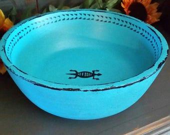 "Vintage 11"" wood bowl painted turquoise and black southwest Aztec gecko"
