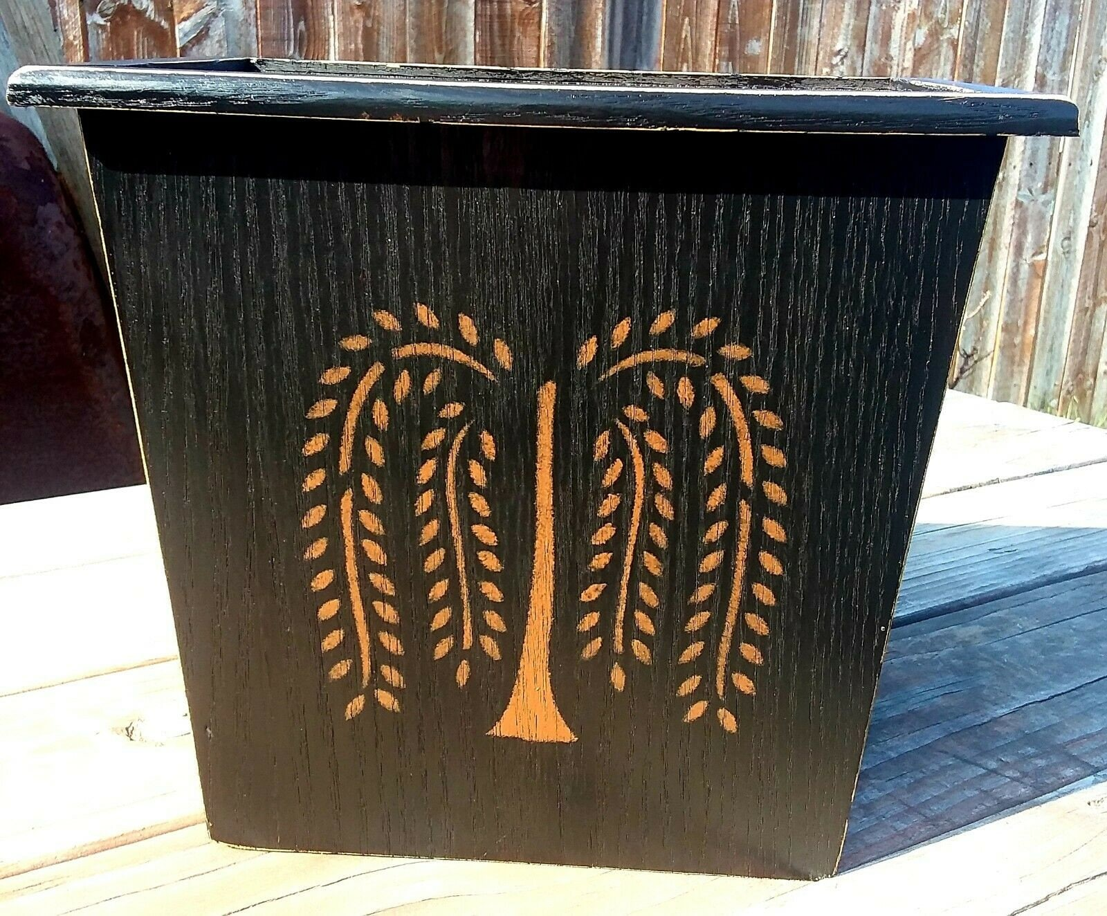 Primitive Decor Wood Black Trash Garbage Can Willow Tree Star Crow Pineapple
