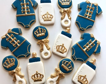 Royal Prince Baby Cookies- One dozen Baby Shower Cookies - Onesie, Bottle, Rattle Crown Prince Baby