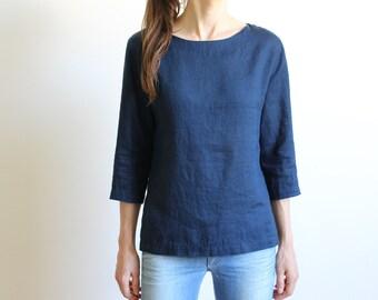 ff4614158c23 Women Linen Blouse / Navy Blue Linen Shirt Women / Handmade Linen Tops /  Pure Linen Clothing / Office Shirts for Women / Women Summer Top