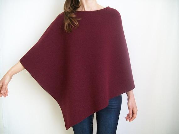 Donne Poncho di lana Bordeaux pura lana feltro scialle  4a06bd2a6fb
