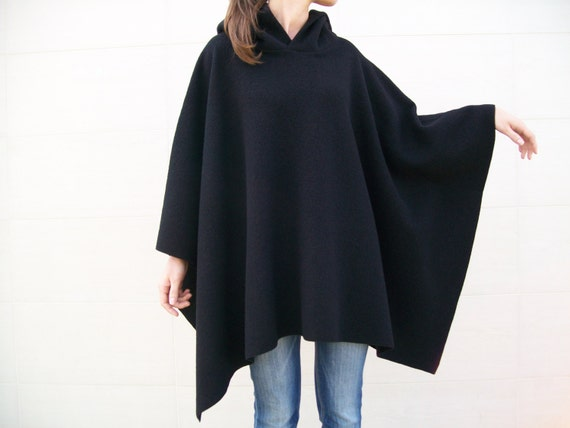 LADIES WOMEN HOODED PONCHO BLACK JUMPER CAPE SOFT KNITTED TOP PLUS SIZE 8-24