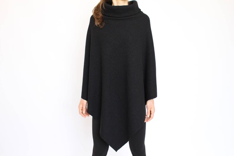 Pure Wool Cape Poncho Wrap Shawl  Handmade Winter Poncho Women Wool  Black Cape with High Collar for Women  Womens Wool Poncho Sweater