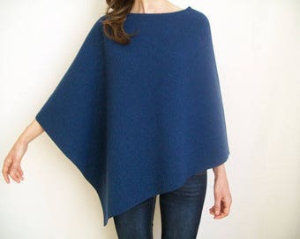 WOOL CAPE / Women Ponchos / 100 % Merino Wool Poncho / Asymmetric Poncho Sweater / Womens Cape / Navy Blue Poncho / Hipster Sweater / Poncho
