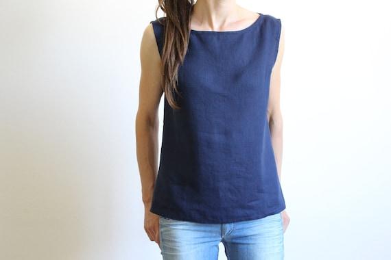 Crop top  Basic linen top  Linen tank top  Linen blouse  Soft linen clothing