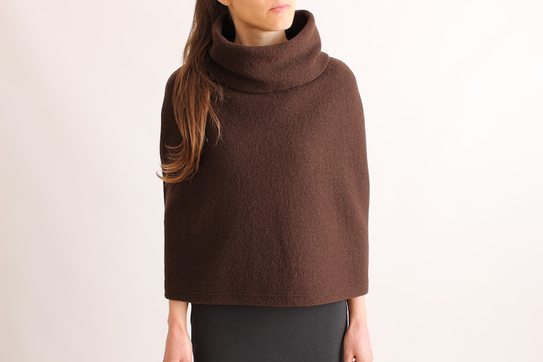WOOLMARK WOOL SHRUG  Poncho Women  Wool Capelet  Pure Wool Cape  Cropped Sweater  Custom Made Cape  Camel Poncho Cover up  Capelet