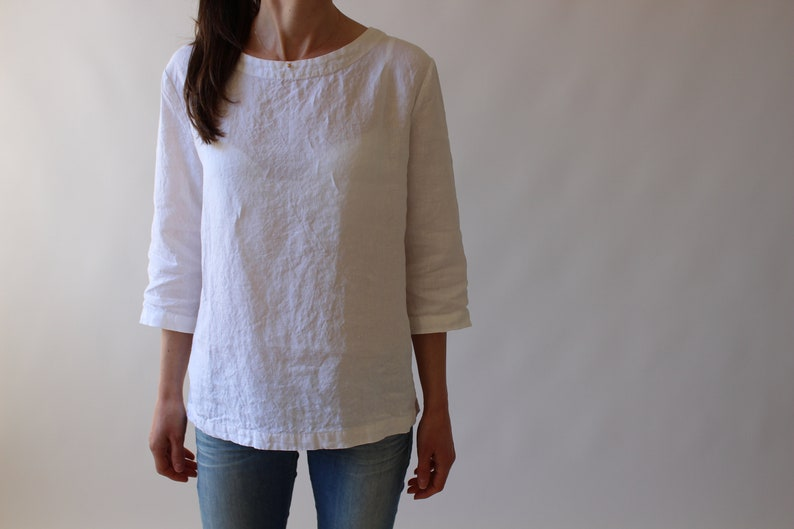 f481ffa537e Pure Linen Blouse   Women Linen Shirt   White Blouses for