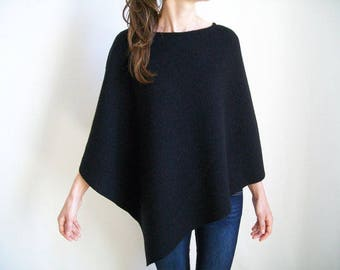 100% MERINO WOOL CAPE / Pure Wool Poncho / Black Wool Shawl / Women Ponchos / Wool Wrap / Womens Cape / Black Poncho / Asymmetrical Sweater