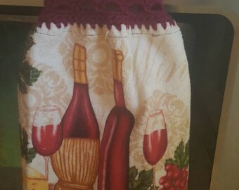 Crocheted hanging kitchen dish towels. (2) as a set