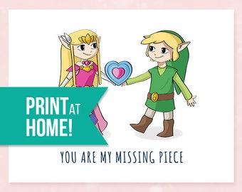 Printable Valentines Card | Legend of Zelda Valentine's Card | My Missing Piece |  Printable Card | Gamer Love Card - INSTANT DOWNLOAD