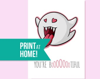 Romantic Mario Card | You're Bootiful | Printable Card | Valentine's Card | Halloween Card | Printable Valentines Card - INSTANT DOWNLOAD