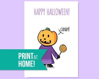 Happy Halloween Card | Jack Pumpkin Head | Printable Cards | Greeting Cards | Halloween Cards | Animal Crossing Card - INSTANT DOWNLOAD