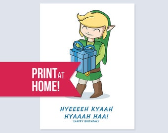 Printable Legend Of Zelda Birthday Card
