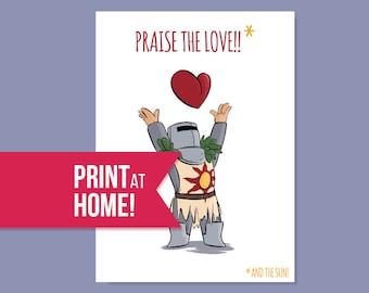 Praise the Sun Card | Praise the Love | Printable Cards | Romantic Card | Gaming Card | Gamer Love Card | Dark Souls Card - Instant Download