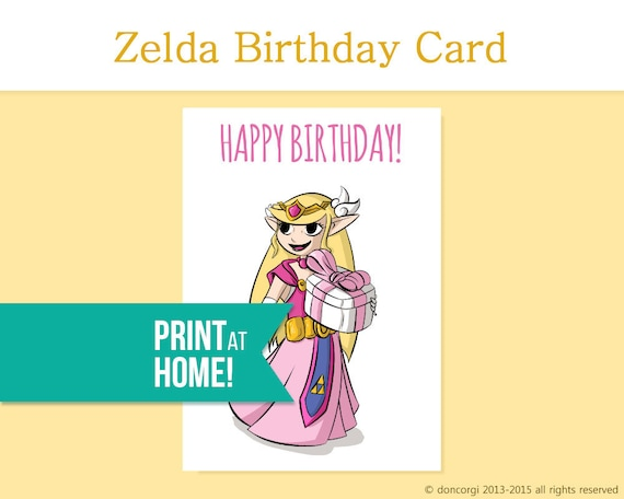 Printable Birthday Card Legend Of Zelda Card Gamer Etsy