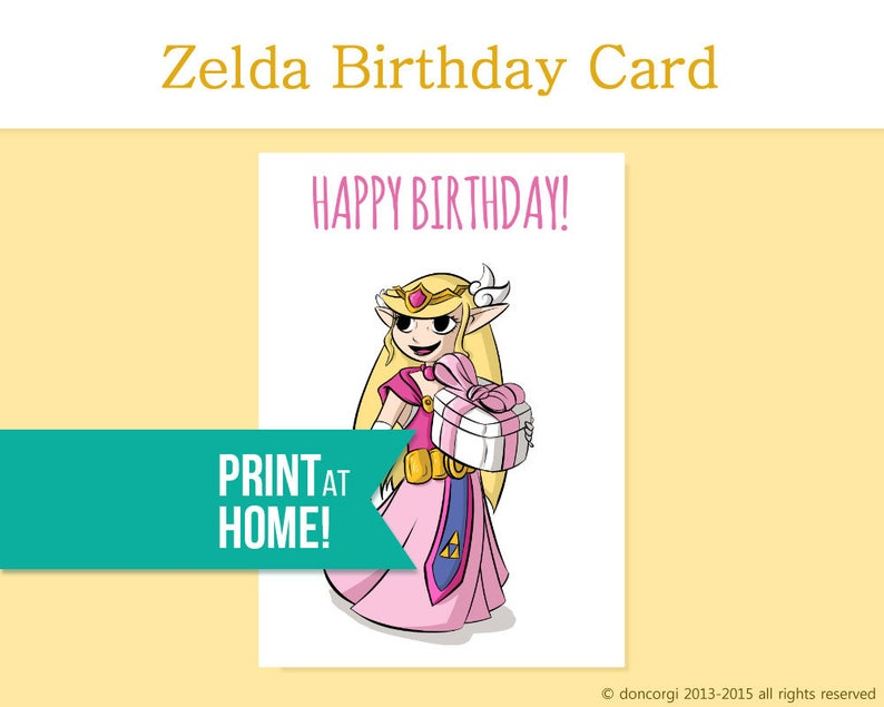 Printable Birthday Card Legend Of Zelda Gamer