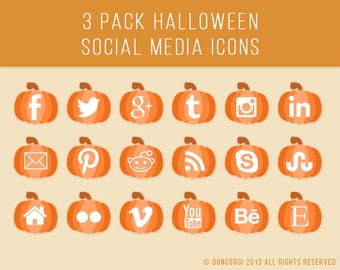 Social Media Icons 3 Pack | Halloween Pumpkin Icons | Ghost Icons | Skull Icons | Website Graphics | Social Media Buttons | Wordpress Icons