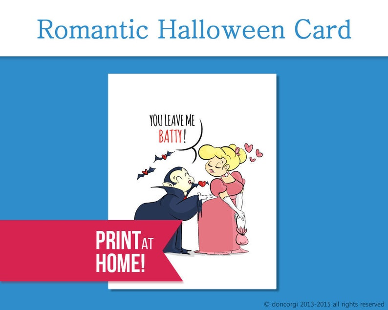 Printable Romantic Card  You Leave me Batty  Printable image 0