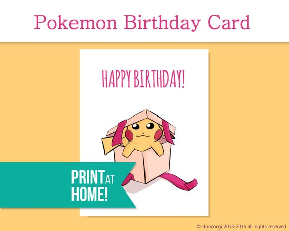 Printable Pokemon Birthday Card Video Game Gamer Etsy