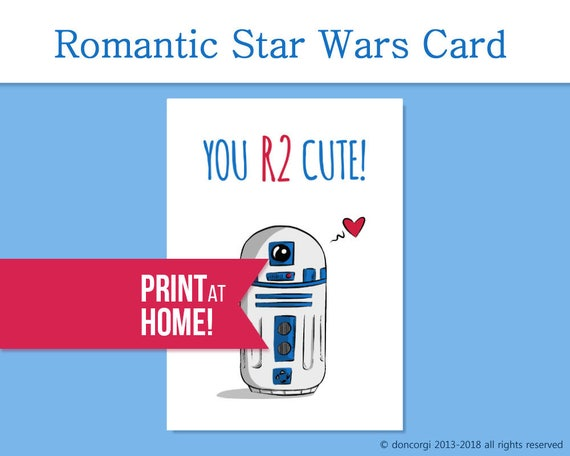 photograph regarding R2d2 Printable named Star Wars Card Printable Card Valentine Card Your self R2 Lovable R2D2  Star Wars Reward Printable Valentines Card - Fast Down load