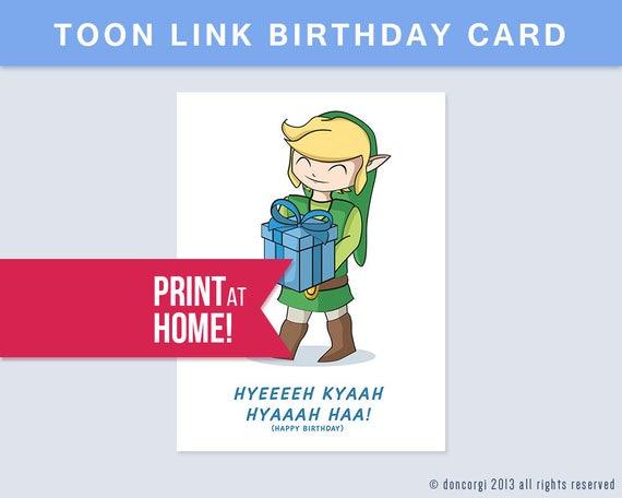 Printable Legend Of Zelda Birthday Card Digital Happy