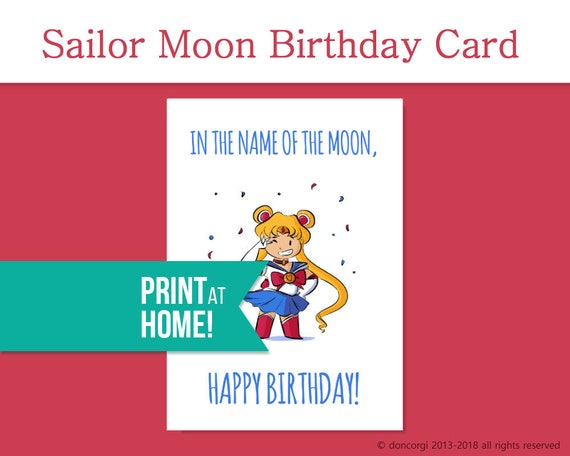 Printable sailor moon birthday card greeting cards digital etsy image 0 m4hsunfo