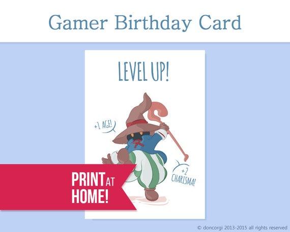 Printable Card Level Up Birthday Gamer