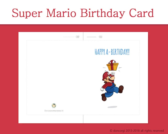 Printable Super Mario Birthday Card Greeting Cards Digital Etsy