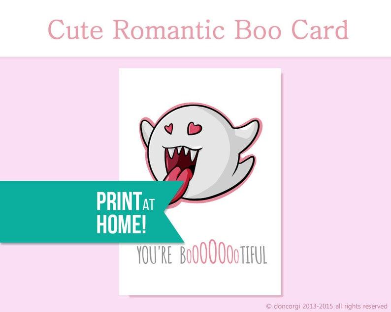 Romantic Mario Card  You're Bootiful  Printable Card  image 0