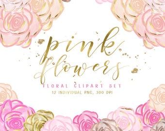 Gold flowers etsy pink flowers clipart pink and gold flowers rose gold flowers floral clip art hand drawn flowers 12 individual png high resolution mightylinksfo