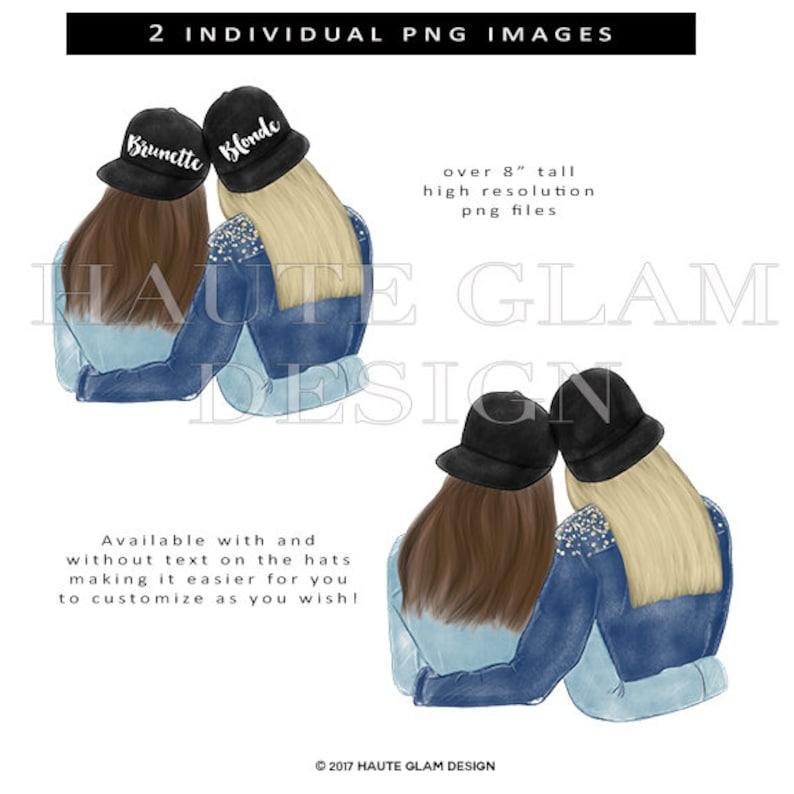 Digital Clip Art 300 DPI Blonde and Brunette Clipart Besties Clip Art 2 PNG Design Best Friends Illustration Fashion Illustration