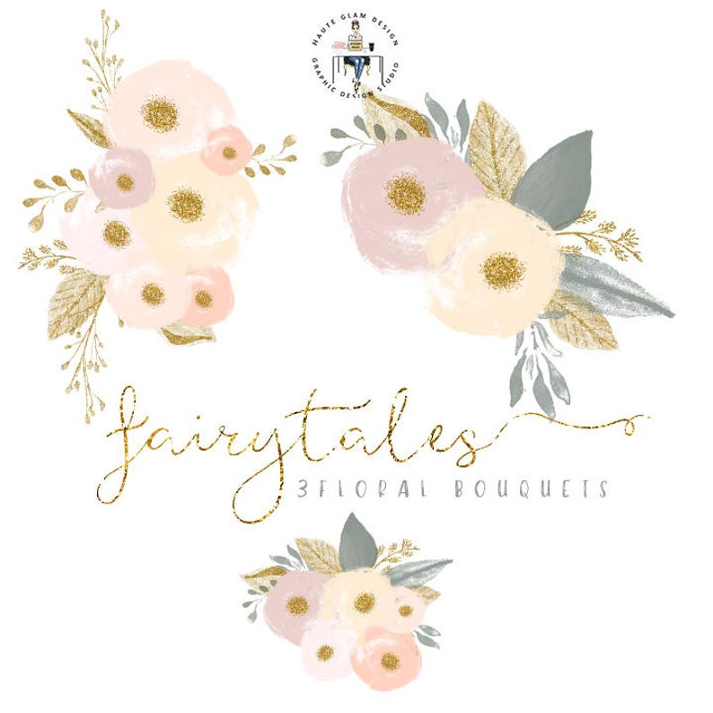 Fairytales Bouquets Floral Clipart High Resolution Watercolor Flowers Gold Glitter Clipart 23 Individual PNG Digital Design Elements