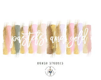 Pastel with Gold Brush Strokes Clipart, Paint Brush Strokes, Gold Brush Strokes, Nudes Digital Design Elements, High Resolution