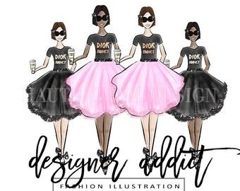 Designer Addict Fashion Illustration, 2 Skin Tones, Fashion Girl with Coffee, Hand Drawn Digital Clip Art, 4 Individual PNG Designs, 300 DPI