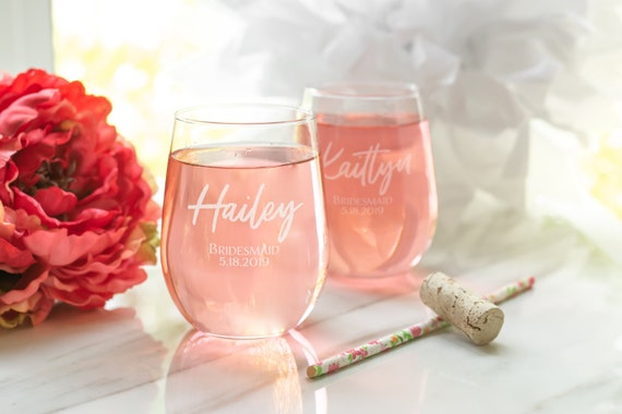 bridesmaid wine glass set of 5 personalized stemless wine etsy