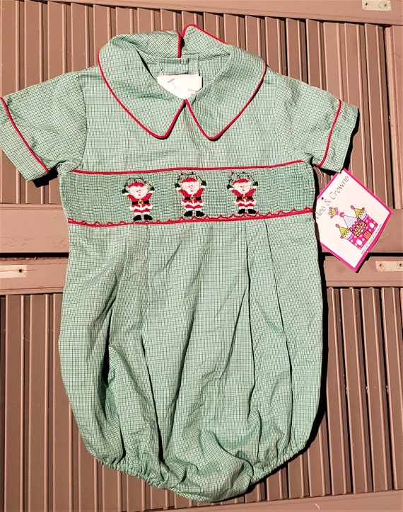 Christmas rompers. Adorable little girl or boy greenwhite gingham vintage Christmas rompers.