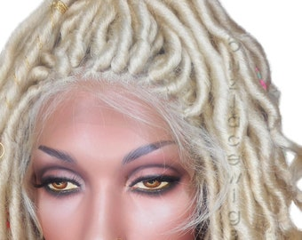 EXCLUSIVE! Blonde goddess locs faux locs dread lock Lace Front Wig blonde locs lace front wig braided wig Fully Hand twisted Lace Wig