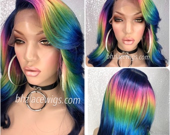 NEW! Stunning multicolor blue front wig purple wig pink wig yellow wig rainbow wig long layers straight hair straight wig bob wig