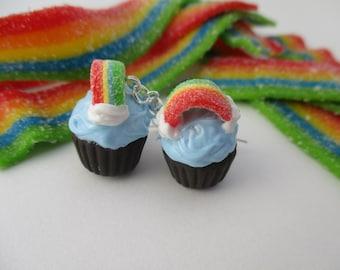 Rainbow Cupcake Earrings, Handmade Polymer Clay Kawaii