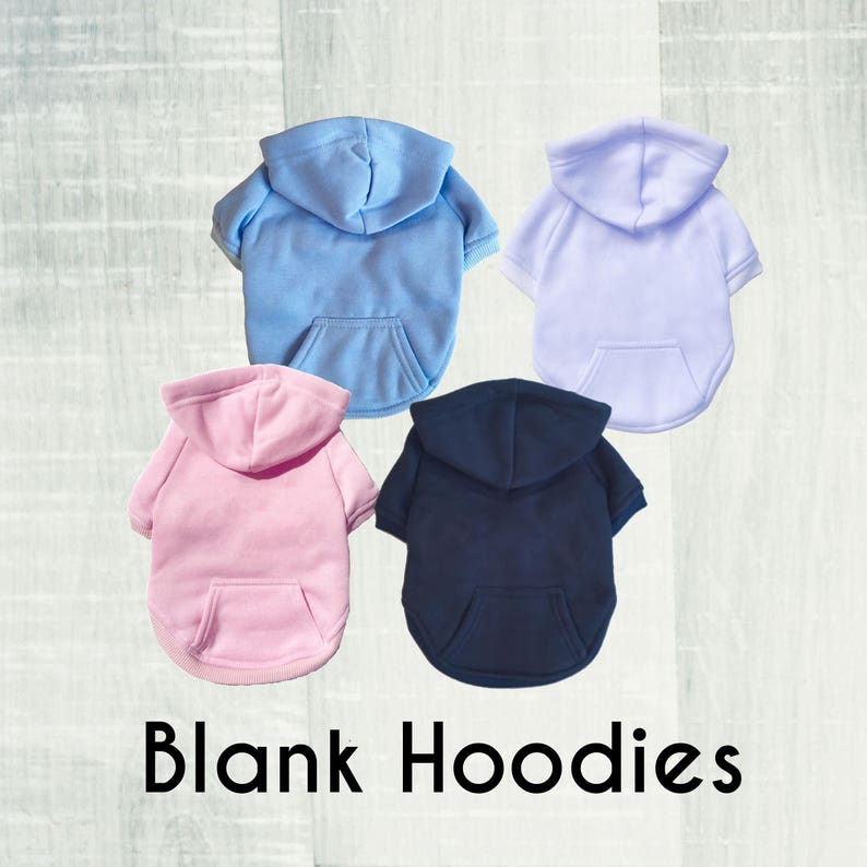 Blank Dog Hoodie. White. Navy. Baby Blue. Baby Pink. Cotton image 0