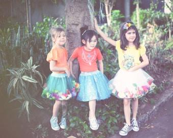 Fantasy Tulle skirt full of Flowers