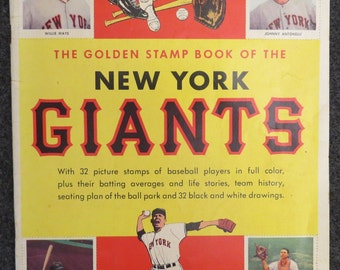 New York Giants 1955 Golden Stamp Book Willie Mays
