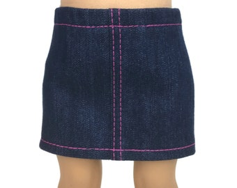 4178a5911 Blue Stretch Denim Mini Skirt with Hot Pink Topstitching - Doll Clothes  made for 18 inch American Girl Dolls