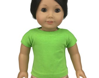 "Lime Green Cotton Tee Shirt - Doll Clothes made to fit 18"" American Girl Dolls"