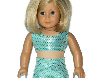 "SHINY GREEN SPORTS BRA /& SHORT SET Fits 18/"" American Girl Dolls Dance//Cheer"