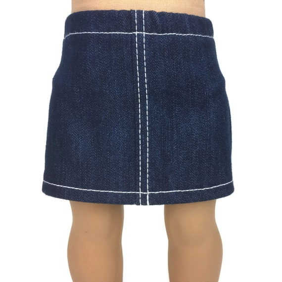 ca46e9747 Blue Stretch Denim Mini Skirt with WhiteTopstitching Doll | Etsy