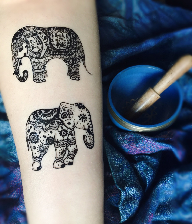 873838541 Henna Elephant Design Temporary Tattoo Set Black | Etsy