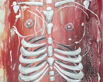 Digital print of abstract skeleton painting