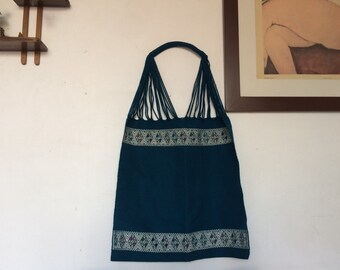 Hand loomed bag in beautiful dark blue.